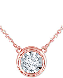 "Diamond Bezel 16"" Pendant Necklace (1/8 ct. t.w.)"