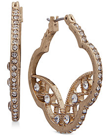 lonna & lilly Gold-Tone Crystal Artistic Hoop Earrings