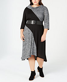 Robbie Bee Plus Size Colorblocked Sweater Dress