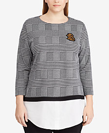 Lauren Ralph Lauren Plus Size Glen Plaid Layered-Look Top