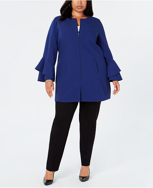 12fc1e99cb8213 ... Alfani Plus Size Flared-Sleeve Collarless Jacket, Created for Macy's ...
