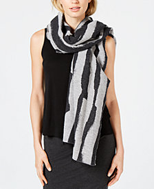 Eileen Fisher Recycled Cotton Printed Fringe-Trim Scarf