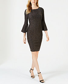Calvin Klein Bell-Sleeve Glitter Dress