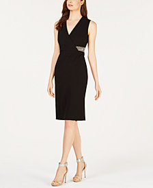 Calvin Klein Embellished Surplice Sheath Dress
