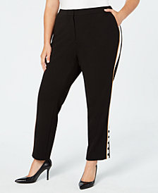 Calvin Klein Plus Size Side-Striped Button Pants
