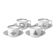 Winter White Teacup & Saucer Set/4