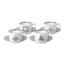 Wedgwood Winter White Teacup & Saucer Set/4