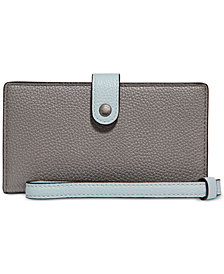 COACH Colorblock Phone Wristlet in Pebble Leather