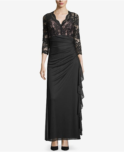 3488bc15727 Betsy   Adam Ruffled Lace Gown   Reviews - Dresses - Women - Macy s