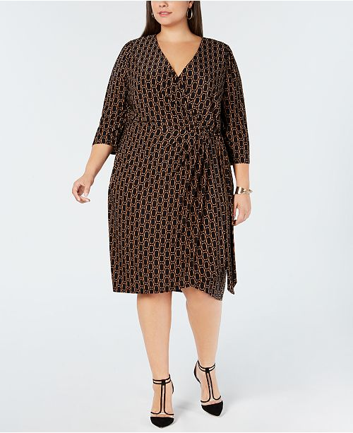 INC Plus Size Printed Faux-Wrap Dress, Created for Macy\'s