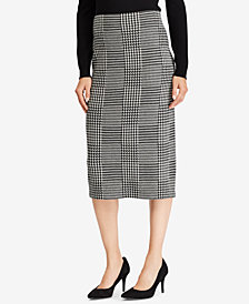 Lauren Ralph Lauren Plaid Wool Pencil Skirt