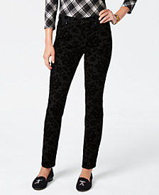 Charter Club Petite Lexington Flocked-Print Tummy Control Jeans, Created for Macy's