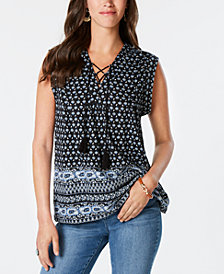 Style & Co Printed Lace-Up Top, Created for Macy's