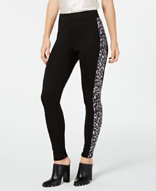 I.N.C. Shaping Leopard-Print & Solid Leggings, Created for Macy's