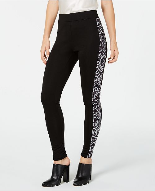 INC International Concepts I.N.C. Shaping Leopard-Print & Solid Leggings, Created for Macy's