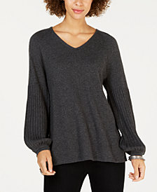 Style & Co Petite Bishop-Sleeve Sweater, Created for Macy's
