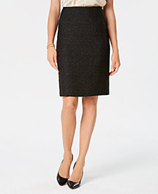 Kasper Petite Metallic Tweed Pencil Skirt