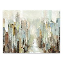 "Misty City Hand Embellished Canvas Art - 36"" W x 24"" H x 1.5"" D"