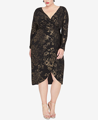 Plus Size Foil Print Wrap Dress by Rachel Rachel Roy