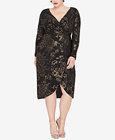RACHEL Rachel Roy Plus Size Foil Print Wrap Dress