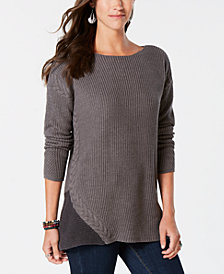 Style & Co Cable-Trimmed High-Low Tunic Sweater, Created for Macy's