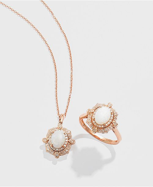 EFFY Collection Diamond (1/6 c.t. t.w.) and Opal (5/8 c.t. t.w.) Pendant in 14K Rose Gold
