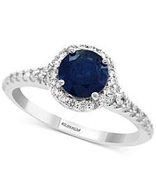 Gemstone Bridal by EFFY® Sapphire (1 ct. t.w.) & Diamond (1/3 ct. t.w.) Ring in 18k White & Yellow Gold