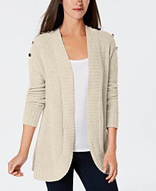 Charter Club Button,Detail Curved,Hem Cardigan, Created for Macy\u0027s