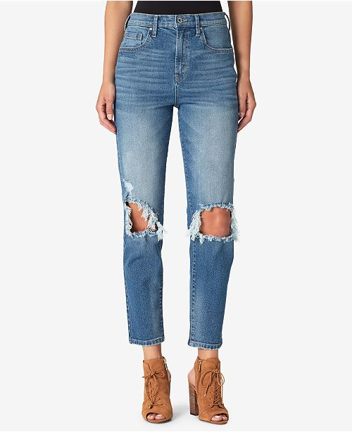 b1407f69451 Jessica Simpson Juniors  Infinite Ripped Straight-Leg Jeans ...