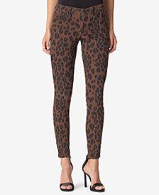 Jessica Simpson Juniors' Kiss Me Leopard-Print Skinny Jeans