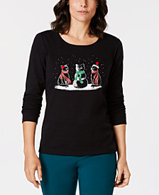 Karen Scott Petite Cotton Embellished Winter Cats Top, Created for Macy's