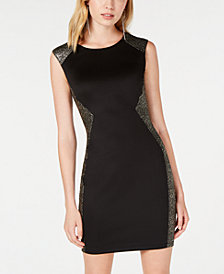 BCX Juniors' Metallic-Panel Bodycon Dress