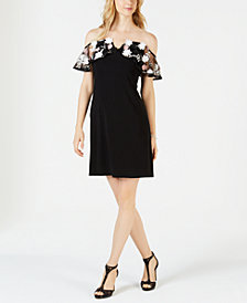 MSK Embroidered Off-The-Shoulder Dress