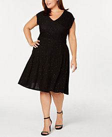NY Collection Plus & Petite Plus Size Metallic Knit Fit & Flare Dress