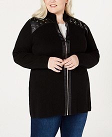 Plus Size Faux-Leather-Trim Zippered Cardigan