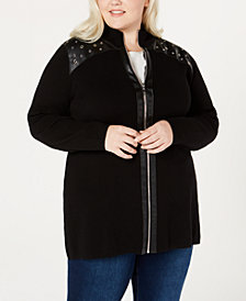 Belldini Plus Size Faux-Leather-Trim Zippered Cardigan
