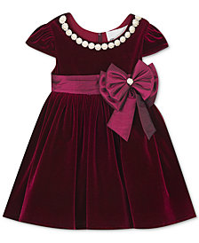 Rare Editions Baby Girls Embellished Velvet Dress