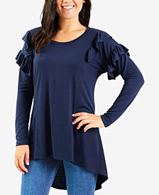 NY Collection Ruffled High-Low Top