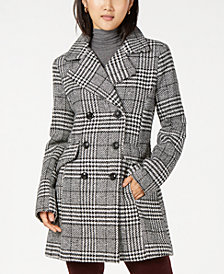 BCX Juniors' Plaid Faux-Leather Trim Jacket