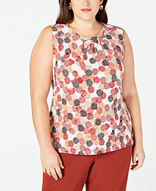 Kasper Plus Size Printed Jewel-Neck Shell