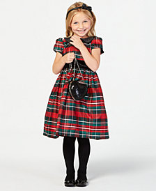 Jayne Copeland Toddler Girls Velvet-Trim Plaid Dress