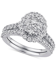 Diamond Halo Cluster Bridal Set (2 ct. t.w.) in 14k White Gold