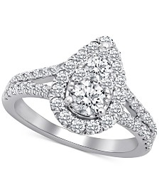 Diamond Teardrop Openwork Engagement Ring (1-3/4 ct. t.w.) in 14k White Gold