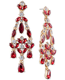 Anne Klein Gold-Tone Stone and Crystal Chandelier Earrings