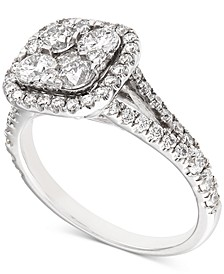 Diamond Halo Cluster Engagement Ring (1-5/8 ct. t.w.) in 14k White Gold