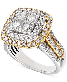 Diamond Two-Tone Square Halo Cluster Engagement Ring (2 ct. t.w.) in 14k Gold & White Gold