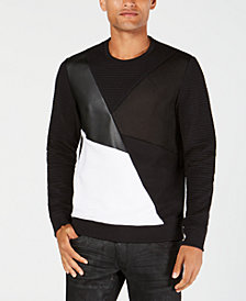 I.N.C. Men's Colorblocked Mixed Media Sweater, Created for Macy's