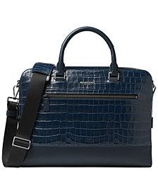 Michael Kors Men's Croc-Embossed Zip Briefcase