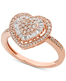 Diamond Heart Cluster Ring (1/2 ct. t.w.) in 14k White or Rose Gold