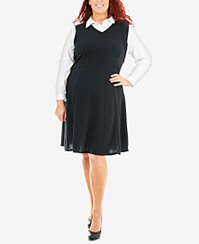 NY Collection Plus Size Fit & Flare Blouse Dress